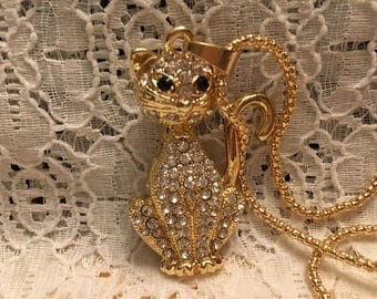 White Crystal Cat Pendant Necklace/Crystal Cat Necklace/Cat Necklace/White Cat Necklace