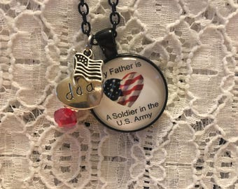 My Father is a Soldier in the U.S. Army Charm Necklace/Soldier Dad Necklace/Dad Soldier Necklace/Father Soldier Jewelry/Proud of My Dad