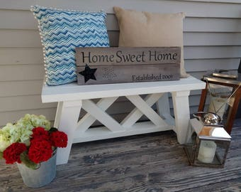 White Wooden bench entryway Farmhouse Decor, Front Porch Sitting, Indoor Outdoor Furniture Shabby Chic 2017 trendy Mudroom porch