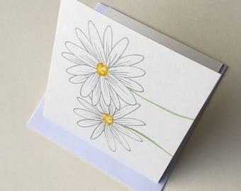 Daisy card - flower card - greetings card - watercolour card- handmade card