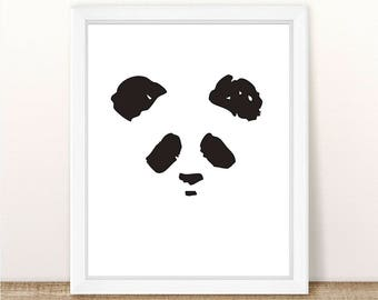 PRINTABLE Panda Face Wall Art, Panda Silhouette, Monochrome Nursery Art, Panda Face, Instant Download, Nursery Wall Art, Printable Files,