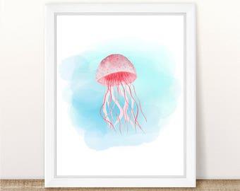 PRINTABLE Watercolor Jellyfish Art Print, Sea Animal Nursery Print, Marine Nursery, Ocean Nursery Wall Art, Pink Jellyfish Nursery Art Print