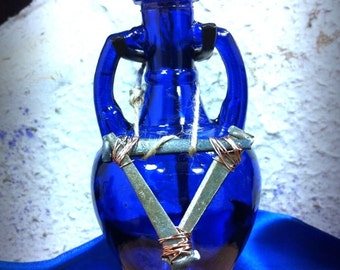 Blue Amphora bottle - Alchemical Water Symbol.  Ocean/Water/Emotions/Mermaids/Tarot Cups - Water Witches (Pisces/Cancer/Scorpio)