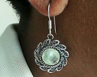 Prehnite stone earring. Big stone earring