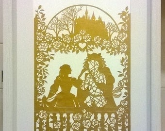 Beauty & The Beast, Fairy tale, Framed Papercut, Home-Decor, Happy Ever After, Artwork, Castle, Wall-Decor.