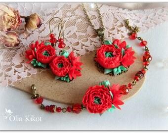Сomplete set red ranunculus jewelry set polymer clay ranunculus handmade vintage roses