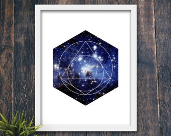 Abstract Poster, Geometric PRINTABLE, Star Print, Night Sky, Modern Abstract Art, Minimalist Wall Art, Contemporary Office Art (#12336c)