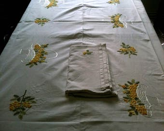 new arge rectangular tablecloth 3m / 1.50m white cotton tablecloth hand-embroidered mimosa flower with 12 assorted napkins-white tablecloth