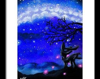 Digital Print) Sylveon under the dark sky Pokemon Painting