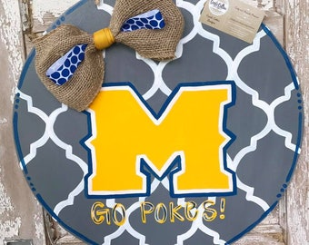 College Football Circle Door Hanger with Moroccan Pattern