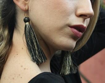 Earrings/pompon black with golden earrings handmade