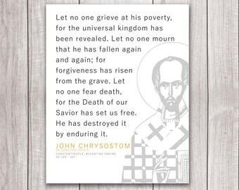 "John Chrysostom Minimalist Quote Matte Print 16x20"" -- Catholic and Christian Art"