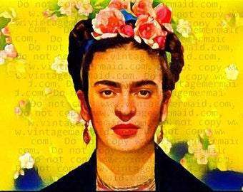YELLOW SUNNY FRIDA Kahlo Fabric Block Quilt Panel FKFB02.