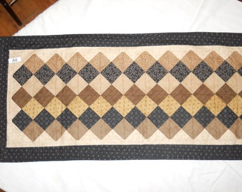 A6 brown quilted table runner