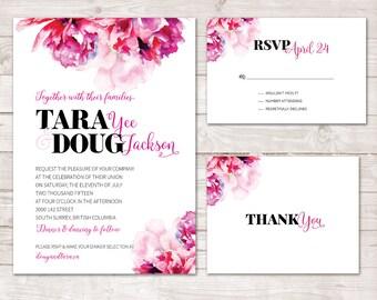 Watercolor Flower Wedding Invitation, Floral Wedding Invitation, Watercolor Wedding Invite, Pink  watercolor Flowers, Watercolor Flower