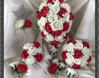 Wedding Flowers Red  & Ivory wedding bouquets with butterflies, Brides, Bridesmaids, Flowergirls etc