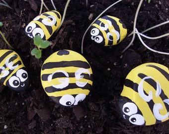 Bumble Bee Painted Rocks - Bumble Bee Outside Rock Toys for Children - Garden Accents - Child Birthday Gift Idea