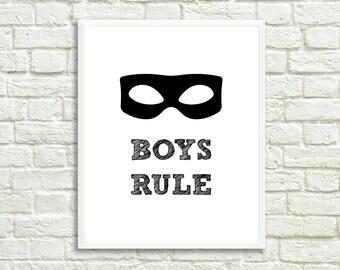 Boys rule print, boys room decor, boys room, baby decor, kids room decor, kids wall art, kids room, scandi style print, boys room print