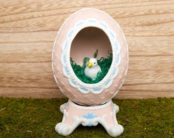 Vintage Egg Diorama on Pedestal-Decorative Egg with Duck-Egg on a Stand- Pink and Blue Easter Egg-Basket Egg-White Duck