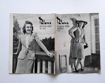 Patons Knitting Book No. 208, original 1940s vintage knitting pattern book