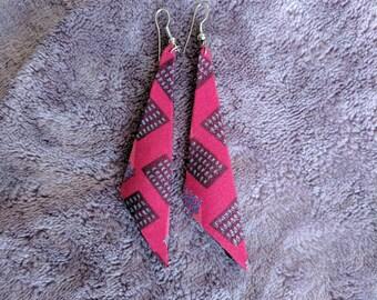Handmade pink and purple block earrings Ghana