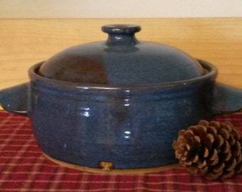 Blue Casserole, pottery casserole, pottery bakeware,  pottery cookware,  stoneware casserole