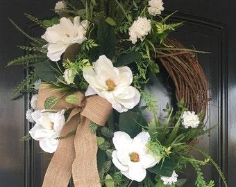 Best Selling Magnolia Wreath | Farmhouse Wreath | Spring Wreath | Front Door Wreath | Wreath for Door