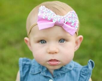 Icing bow, ice cream bow, dessert bow, baby headband, baby hair clip, hair clips, bow, pink bow