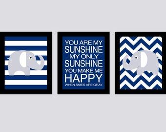Blue Elephant Nursery Wall Art - You are my Sunshine - Chevron Nursery Art