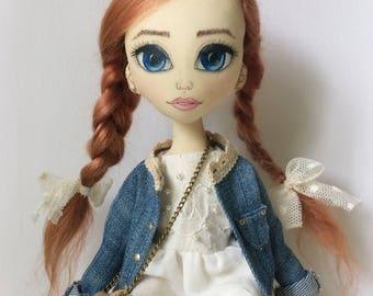 TEXTILE DOLL, FASHION doll, interior doll, ooak, fabric doll, handmade doll, cloth doll, beautiful doll, doll for girls