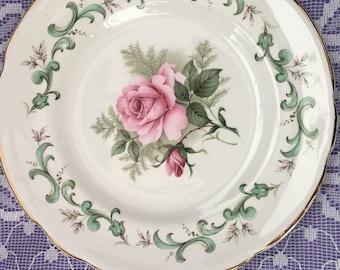 "Fine Bone China Pink Rose bouquet design Tea / Side plate 6 1/4"""