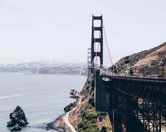 Golden Gate Bridge Photograph, Travel Photography, California, West Coast, USA, Fine Art, Color, Sea, Landscape