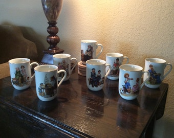 Set of 8 Norman Rockwell Museum Collection Mugs (1982 series)