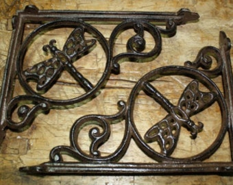 4 Cast Iron Antique Style DRAGONFLY Brackets, Garden Braces Shelf Bracket HEAVY