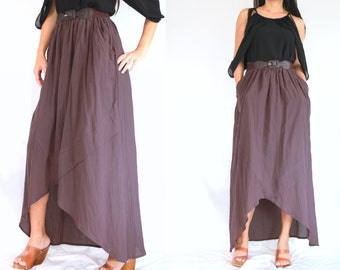 SALE - Women Purple Cotton Maxi Skirt - High Low Skirt - SK003