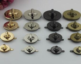 2pcs Purse lock gold silver brass Gun  twist purse turn lock clutch clock Turn Lock Fastner Purse bag handbag Latch hardware