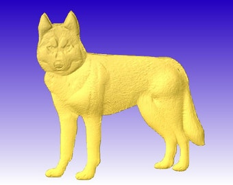 Husky 3D Vector Relief Model for cnc router projects or sign carving patterns in stl file format
