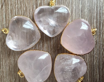 Rose quartz heart pendant-Rose quartz necklace-puffy heart necklace-healing crystals and stones – rose quartz crystal heart pendant necklace