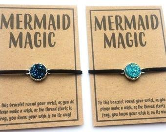 Mermaid magic druzy wish friendship charm bracelet various colour