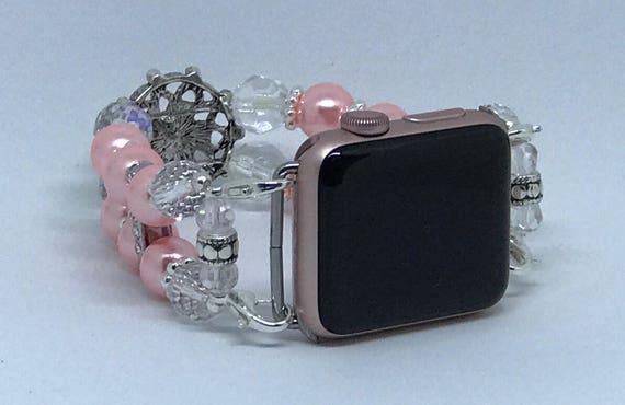 """Apple Watch Band, Women Bead Bracelet Watch Band, iWatch Strap, Apple Watch 38mm, Apple Watch 42mm, Faux Pink Pearl Size 7 1/4"""" - 7 1/2"""""""