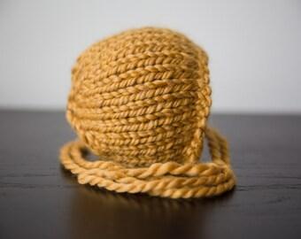 Newborn Knit bonnet | Newborn photo prop | Chunk newborn bonnet | Chunky Knit bonnet | Yellow/Mustard newborn bonnet