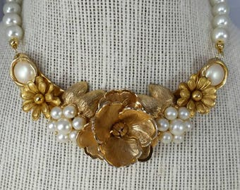 Gold and Pearl Vintage Assemblage Necklace,  Statement Necklace,  Elegant Bib Necklace, Upcycled Jewelry