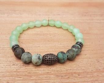 Unisex bracelet, Elegant-14, Jade and African Turquoise.