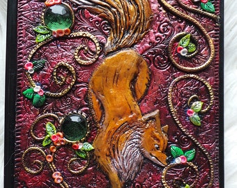 Notebook, journal with a fox polymer clay cover notebook Fuchs