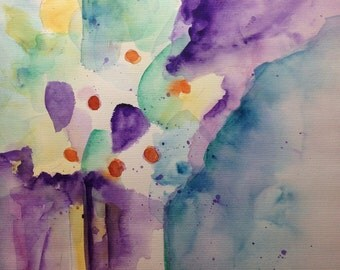 """Watercolor, flowers """"Flowers in the vase"""" abstrackt, 30 x 40 cm, unique"""