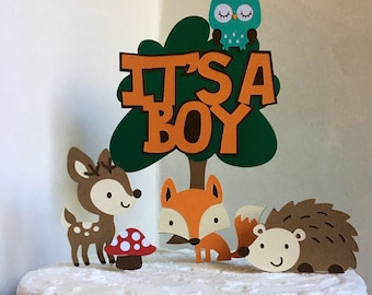 Woodland Baby Shower CakeTopper, Woodland Baby Shower Cake Decoration,  Woodland Itu0027s A Boy Cake