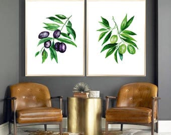 Olives watercolor print Set of 2 Art print Olives  leaves Wall decor Botanical watercolor print Olives Leaves poster Olives home decor print