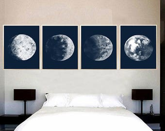 Set of 4 Lunar print Moon Phases Watercolor Art Print Nautical home decor Blue Moon Phases Full moon wall art Moon Painting Moon wall art