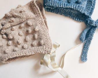 Crush popcorn - knit baby Hat - 100% baby alpaca - 6 months