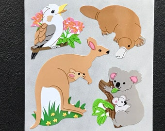 Sandylion Stickers Scrapbooking vintage Koala Bear, Kangaroo, Bird (1 mod)